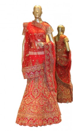 Hand Picked Red Net Heavy Work Bridal Lehenga Choli SD1258