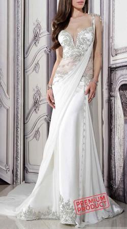Hand Work Ivory Art Silk Designer Saree Gown BP1246