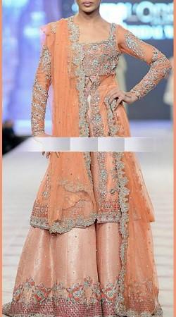 Hand Work Peach Net Designer Bridal Sharara SM0606
