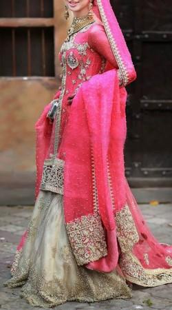 Hand Work Pink Satin Silk Bridal Sharara SM0406