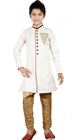Hand Work White Brocket Kid Boy Sherwani GR25213