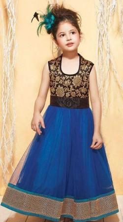 Harshaali Malhotra Blue Net Kids Girl Salwar Kameez BP1232
