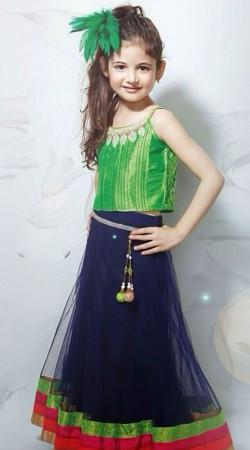 Harshaali Malhotra Blue Net Party Wear Baby Lehenga Choli BP1132