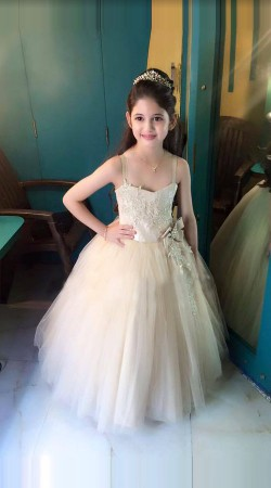 Harshaali Malhotra Cream Net Designer Gown For Party BP1332