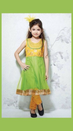 Harshaali Malhotra Green Net Kids Girl Salwar Kameez BP2832