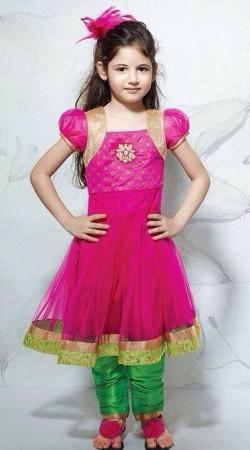 Harshaali Malhotra Magenta Net Kids Girl Anarkali Suit BP0432