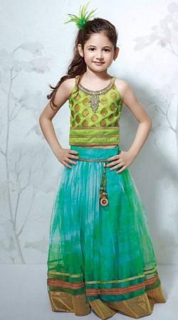 Harshaali Malhotra Peacock Green Net Designer Lehenga For Baby Girl BP2732