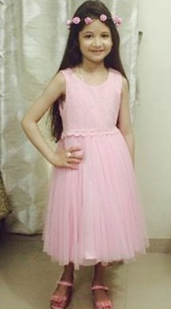 Harshaali Malhotra Pink Net Baby Girl Frock For Party BP0332