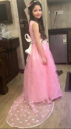 Harshaali Malhotra Pink Satin And Net Flower Girl Dress BP1832