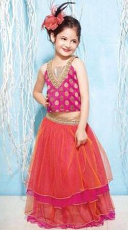 Harshaali Malhotra Red Net Baby Lehenga Choli BP1632