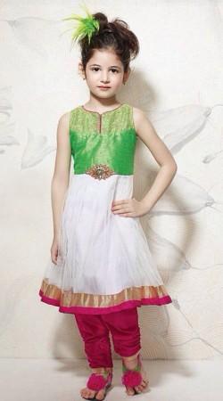 Harshaali Malhotra White Net Salwar Kameez For Kids Girl BP2532