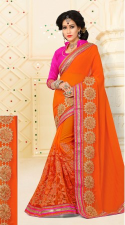 Heavenly Floral Embroidered Orange Digital Net And Catatonic Georgette Saree VB11106A29