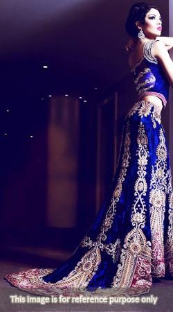Heavily Embellished Velvet Royal Blue Bridal Long Tail Lehenga BP0127