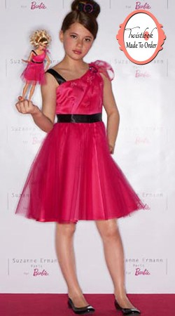 Imposing Barbie Doll Style Pink Net Kid Girl Dress BP0913