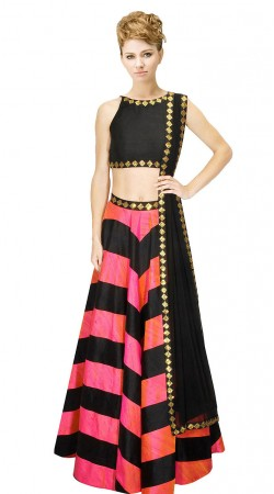 Imposing Black Stripes Pink Silk Crop Top Lehenga SUUDL9415