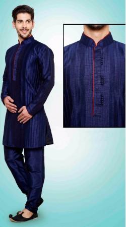 Imposing Blue Art Dupian Silk  Kurta Payjama For Men DTKP951