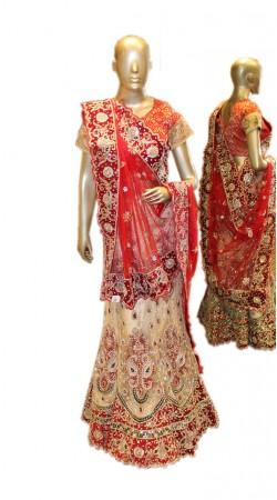 Imposing Cream Net Bridal Lehenga Choli With Red Dupatta SD1358