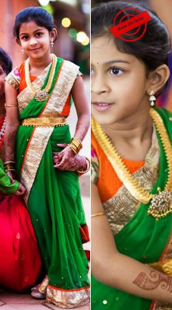 Imposing Green Net Like Mother Like Daughter Saree With Blouse BP4116