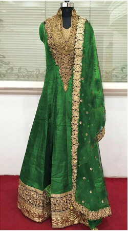 Imposing Green Raw Silk Floor Touch Anarkali Suit With Resham Work THS225B03