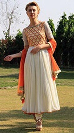 Imposing Off White Georgette Yoke Embroidered Long Anarkali Suit BP0114