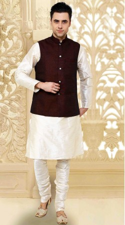 Imposing Off White Kurta With Cotton Flex Jacket  Nehru Waist Coat DTKPJ5150
