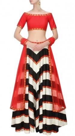 Imposing White And Black Dupion Silk Lehenga With Red Choli SUUDL14116