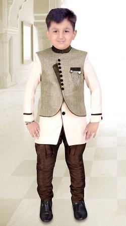 Imposing White Premium Fabric Kids Boy Indo Western Sherwani DT314653
