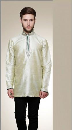 Impressive Chinese Collar Style Off White Dupian Men Short Kurta DTGK1259