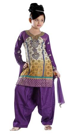 Impressive Cream And Purple Banarsi Silk Kids Girl Patiala Suit TL602328