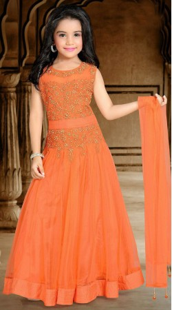 Impressive Embroidered Orange Net Kids Girl Designer Gown DTK2552