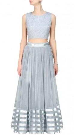 Impressive Greyish Net Lehenga Choli With Silver Lace Work SUUDL13016