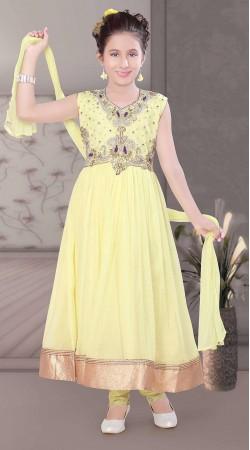 Impressive Kasab Work Light Yellow Kids Girl Long Anarkali Suit DT10348