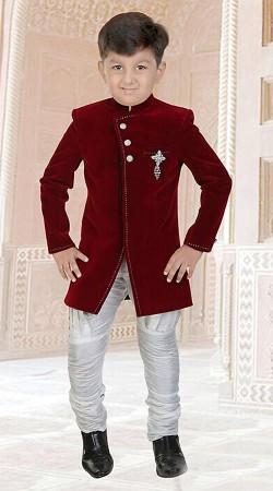 Impressive Maroon Premium Fabric Boys Indo Western Sherwani DT306053