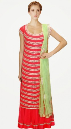 Impressive Net And Georgette Bright Red IndoWestern Sharara Style SUMA4409A