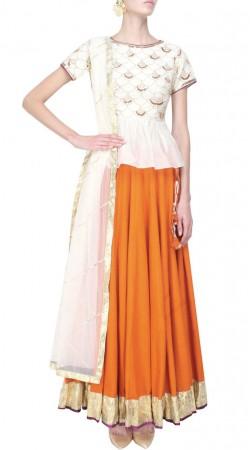 Impressive Orange Chanderi Silk Lehenga With White Choli SUUDL12316