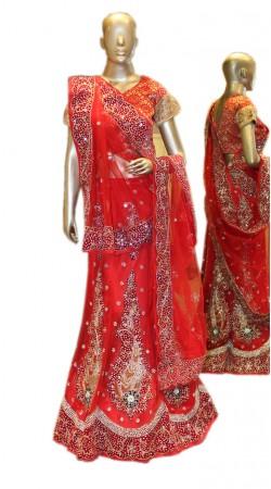 Impressive Red Net Semi Bridal Lehenga Choli With Dupatta SD1158