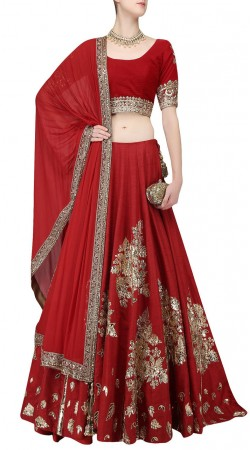 Impressive Red Silk Wedding Wear Lehenga Choli With Dupatta SUUDL21619