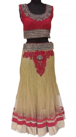 Impressive Resham And Sequins Work Cream Fine Net Designer Lehenga Choli LD000507