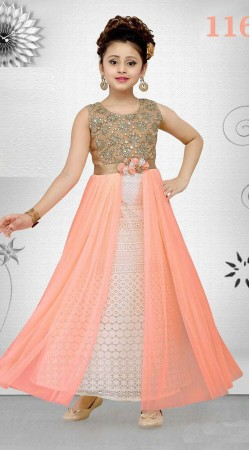 Impressive White And Peach Net Kids Girl Ankle Length Gown DT11648