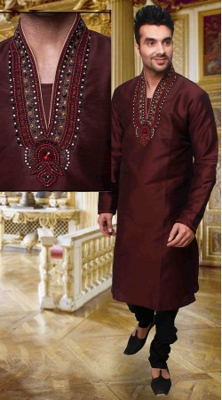 Indian Red Art Silk Neck Embroidered Kurta Pyjama For Party DTKP2233