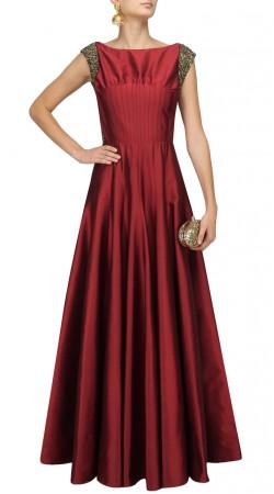 Indian Red Silk Floor Length Anarkali SUMA57728