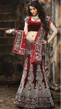 Indian Red Velvet Lehenga Choli LD001903