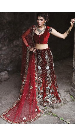 Indian Red Velvet Lehenga Choli LD005703