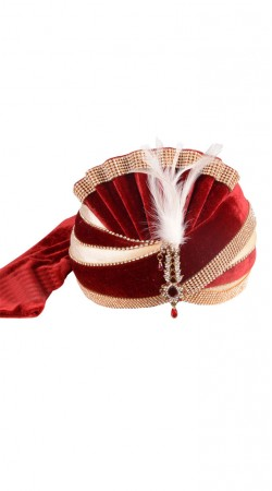 Indian Rich Look Cream And Red Velvet Wedding Turban For Mens ZP0611
