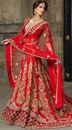 Indian Rich Look Heavy Work Red Bridal Lehenga With Trail