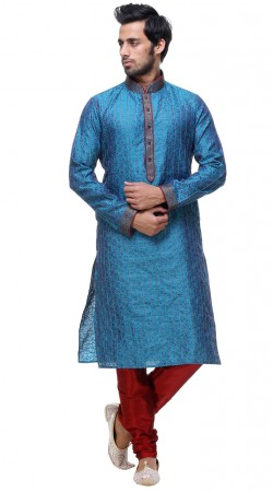 Classy Thread Work Light Blue Silk Mens Printed Kurta GR133705