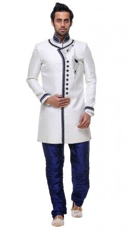 Indian Rich Look White Brocade Indo Western Sherwani GR130604