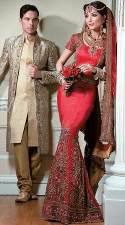 Indian Tradition Red Designer Mermaid Bridal Lehenga SM1304