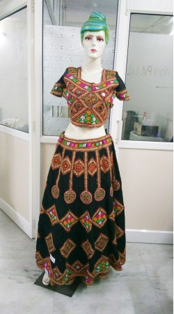 Indian Traditional Black Cotton Ghagra Choli With Jaipuri Work 2BR664958