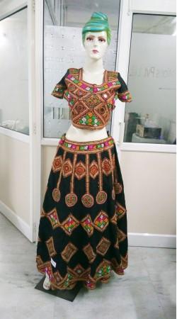 Indian Traditional Black Cotton Ghagra Choli With Jaipuri Work 2BR664958